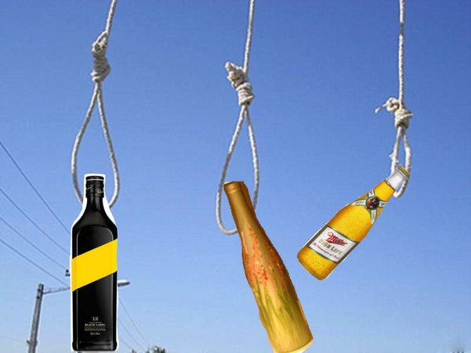bottle alcohol noose execution