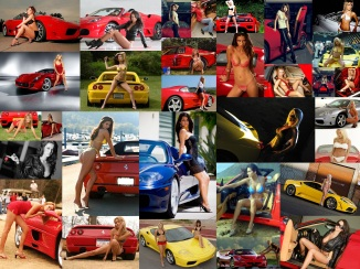 Ferrari Girl Wallpaper Collage at the Bar None