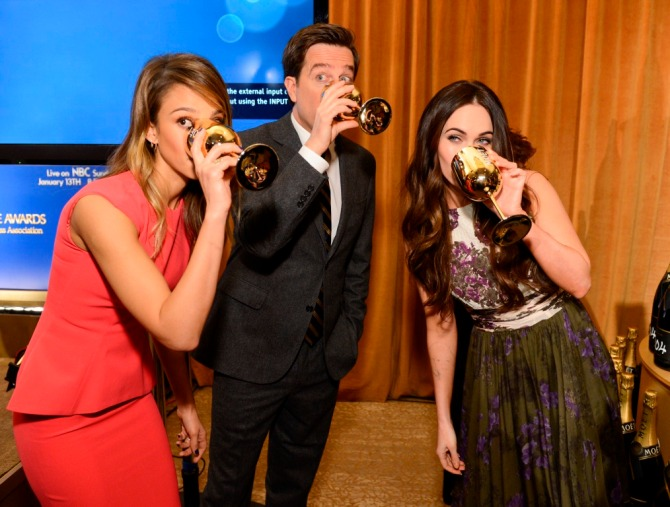 Jessica Alba, Ed Helms, Megan Fox drinking champagne (Bar None Dregs)